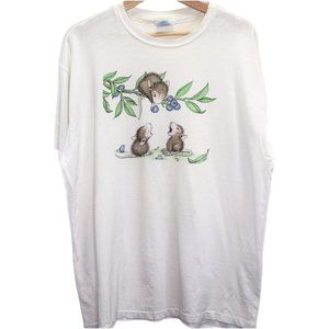 I67 Vintage Hanes Blueberry Mice Graphic Shirt Mad